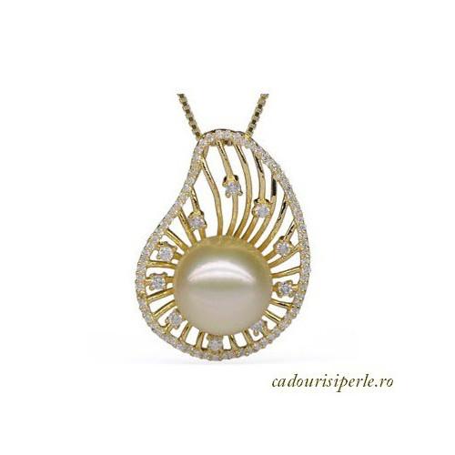 Set Coral Portocaliu si Perle Albe