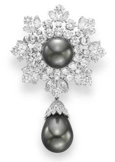 diamant si perle naturale brosa