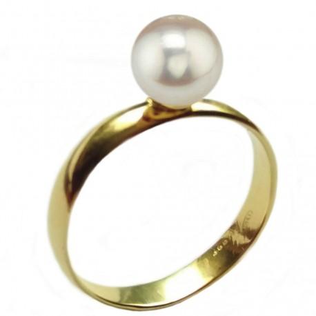 inel de aur cu perla de akoya