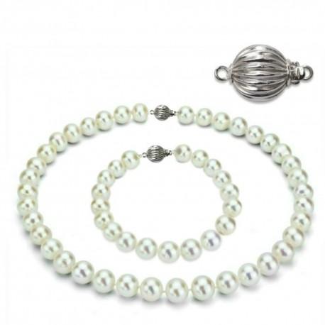 set perle cu aur alb